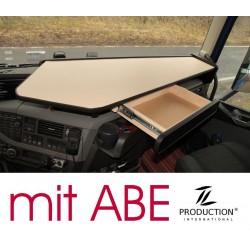 VOLVO FH4 durchgehender LKW-Tisch mit Auszug Kante schwarz Anirutschmatte beige mit ABE