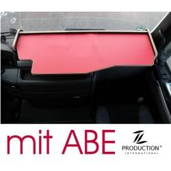 MAN TGX durchgehender LKW-Tisch Kante beige Anirutschmatte rot mit ABE