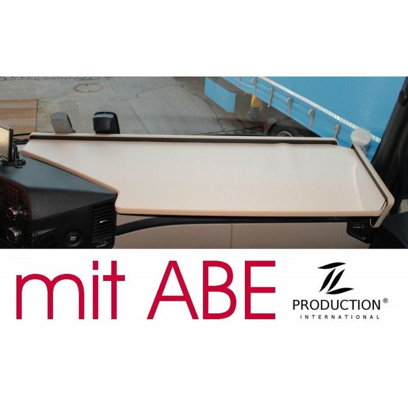 Mercedes Actros Giga Space MP4 & MP5 durchgehender LKW-Tisch Kante beige Anirutschmatte beige mit ABE