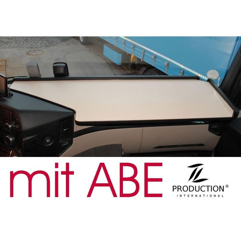 Mercedes Actros Giga Space MP4 & MP5 durchgehender LKW-Tisch Kante schwarz Anirutschmatte beige mit ABE