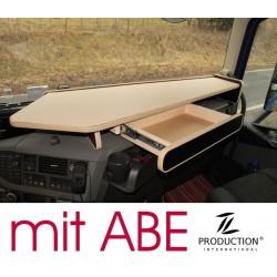 VOLVO FH4 durchgehender LKW-Tisch mit Auszug Kante beige Anirutschmatte beige mit ABE
