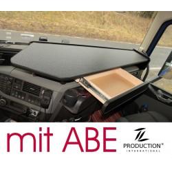 VOLVO FH4 durchgehender LKW-Tisch mit Auszug Kante schwarz Anirutschmatte schwarz mit ABE