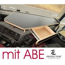 VOLVO FH4 durchgehender LKW-Tisch mit Auszug Kante beige Anirutschmatte schwarz mit ABE