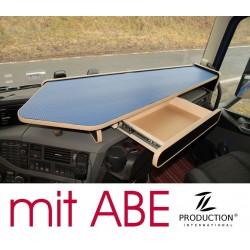 VOLVO FH4 durchgehender LKW-Tisch mit Auszug Kante beige Anirutschmatte blau mit ABE