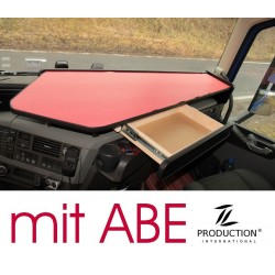 VOLVO FH4 durchgehender LKW-Tisch mit Auszug Kante schwarz Anirutschmatte rot mit ABE
