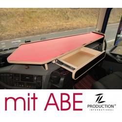 VOLVO FH4 durchgehender LKW-Tisch mit Auszug Kante beige Anirutschmatte rot mit ABE