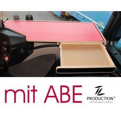 Mercedes Actros Stream Space MP4 & MP5 durchgehender LKW-Tisch mit Auszug Kante beige Anirutschmatte rot mit ABE