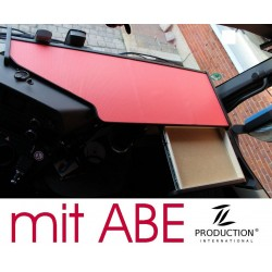 Mercedes Actros Stream Space MP4 & MP5 durchgehender LKW-Tisch mit Auszug Kante schwarz Anirutschmatte rot mit ABE
