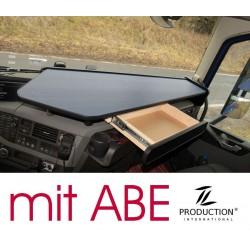 VOLVO FH4 durchgehender LKW-Tisch mit Auszug Kante schwarz Anirutschmatte grau mit ABE