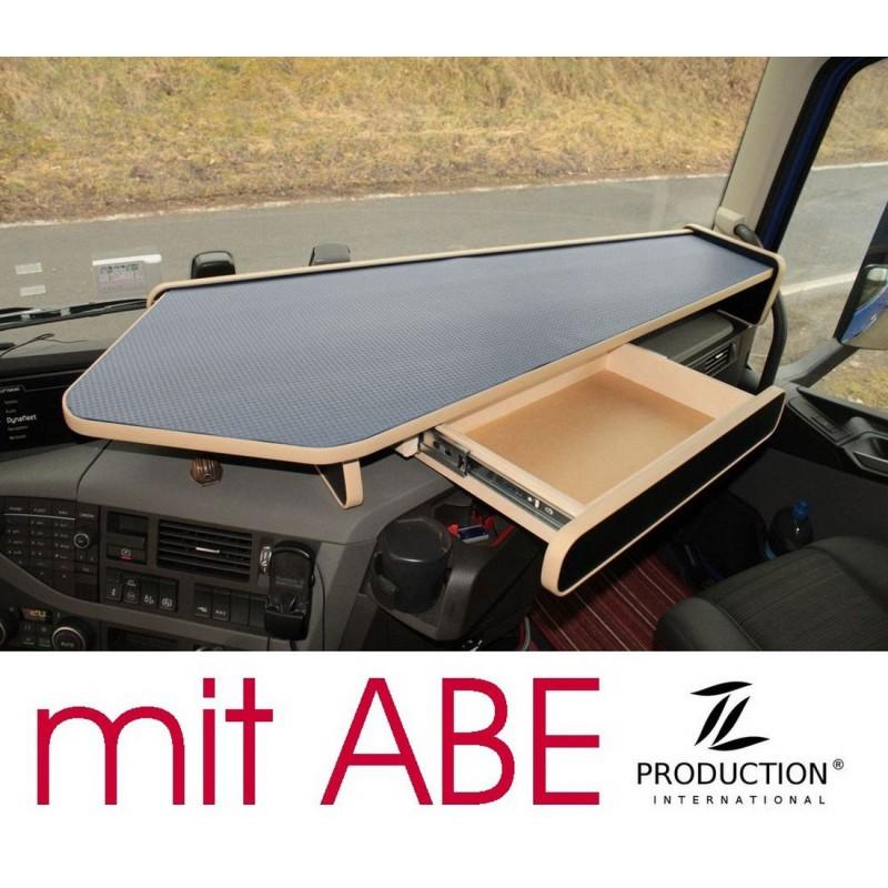 VOLVO FH4 durchgehender LKW-Tisch mit Auszug Kante beige Anirutschmatte grau mit ABE