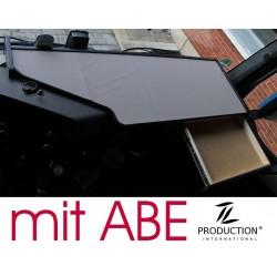 Mercedes Actros Stream Space MP4 & MP5 durchgehender LKW-Tisch mit Auszug Kante schwarz Anirutschmatte grau mit ABE
