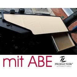 Mercedes Actros Big Space MP4 & MP5 durchgehender LKW-Tisch mit Auszug Kante schwarz Anirutschmatte beige mit ABE