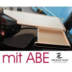 Mercedes Actros Big Space MP4 & MP5 durchgehender LKW-Tisch mit Auszug Kante beige Anirutschmatte beige mit ABE