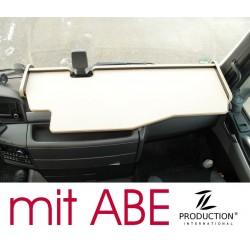 MAN TGX durchgehender LKW-Tisch mit Ausschnitt für Fahrassistent Kante biege Anirutschmatte beige mit ABE