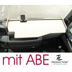 MAN TGX durchgehender LKW-Tisch mit Ausschnitt für Fahrassistent Kante biege Antirutschmatte beige mit ABE