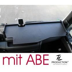 MAN TGX durchgehender LKW-Tisch mit Ausschnitt Kante schwarz Matte schwarz mit ABE