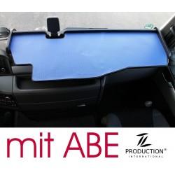 MAN TGX durchgehender LKW-Tisch mit Ausschnitt Kante schwarz Matte blau mit ABE
