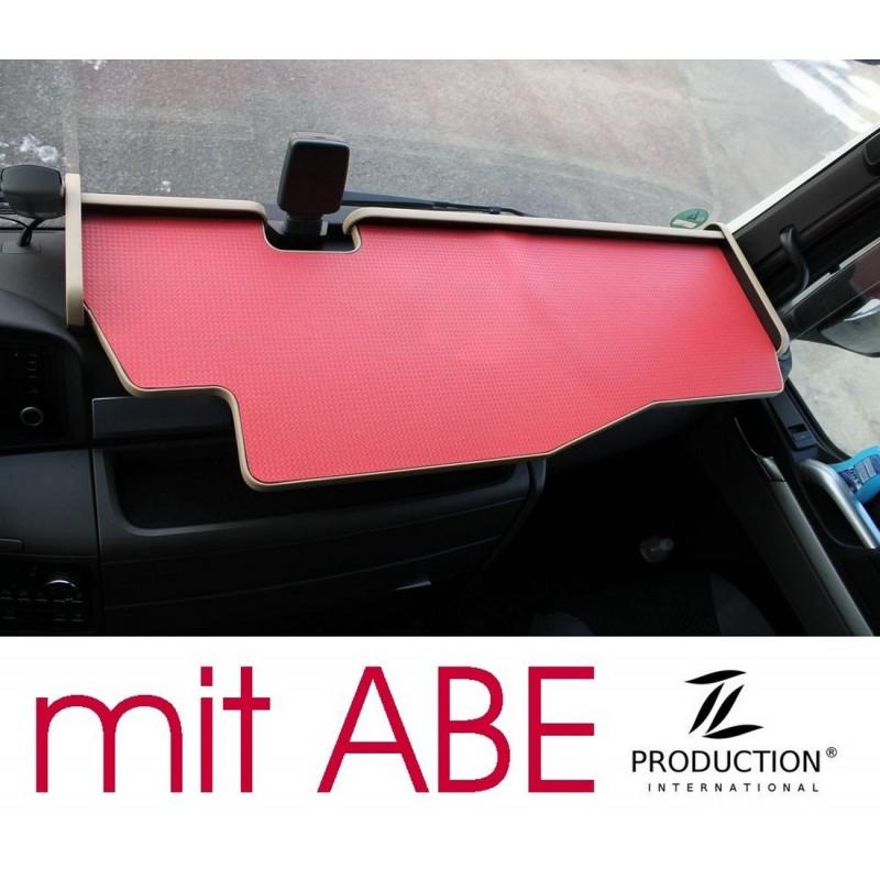 MAN TGX durchgehender LKW-Tisch mit Ausschnitt Kante beige Matte rot mit ABE