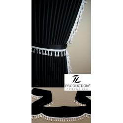 Scheibengardine mit Frontscheibenborde schwarz weiß